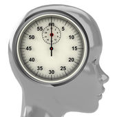 Metallic human head with brain cloud with time clock inside — Stock Photo