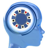 Blue human head with brain cloud with poker chip inside — ストック写真