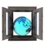 Isolierte Fenster geöffnet, um asiatische Länder reisen — Stockfoto