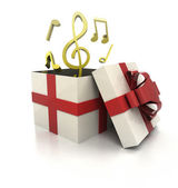 Mysterious magic gift with good music surprise render — Stock Photo