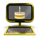 Golden metallic computer with cake celebration on screen concept isolated — Stock Photo