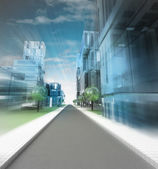 New modern visualization of city street of future in motion blur — Stock Photo