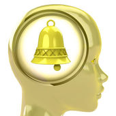 Yellow human head with brain cloud with golden bell inside — ストック写真