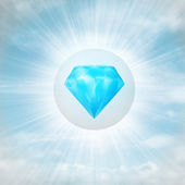 Blue pure diamond in glossy bubble in the air with flare — Foto Stock