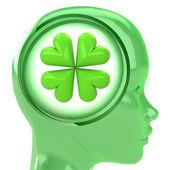Green human head with brain cloud with cloverleaf luck inside — Stock Photo