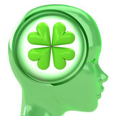 Green human head with brain cloud with cloverleaf luck inside — ストック写真