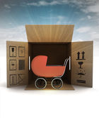 Baby carriage product delivery with sky flare — Stock Photo