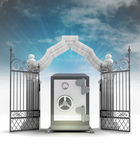 Divine vault wealth in heavenly gate with sky flare — Stock Photo