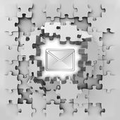 Grey puzzle jigsaw with envelope message revelation — Foto Stock
