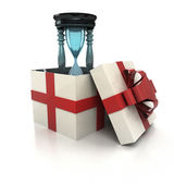 Mysterious magic gift with glossy sandglass render — Stock Photo