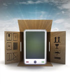 New smart phone product delivery with sky flare — Stok fotoğraf
