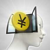 Yen coin investment coming out or in human head through window concept — Stock Photo