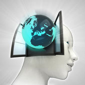 Europe globe coming out or in human head through window concept — Stockfoto
