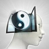 Ziel harmony afkomstig is uit of in menselijk hoofd via venster concept — Stockfoto