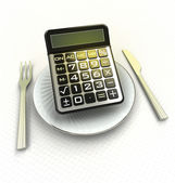 Food cost calculation concept calculator on plate render — Stock Photo