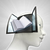 Education book coming out or in human head through window knowledge concept — Stock Photo