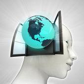 Noord-Amerika wereld afkomstig is uit of in menselijk hoofd via venster concept — Stockfoto