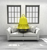 Welcome bell ring to comfortable modern interior design render — Stock Photo