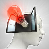 Red shining bulb invention coming out or in human head through window concept — Stock Photo