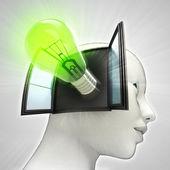 Groene schijnt lamp uitvinding afkomstig is uit of in menselijk hoofd via venster concept — Stockfoto