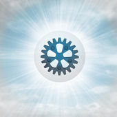 Industrial cogwheel in glossy bubble in the air with flare — Stock Photo