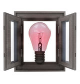 Isolated opened window with red bulb warning — Stock Photo