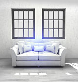 Comfortable modern interior design with two windows render — Stock Photo