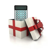 Mysterious magic gift with glossy calculator inside render — Stock Photo