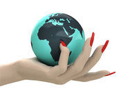 Isolated globe with north Africa in women hand render — Stock Photo