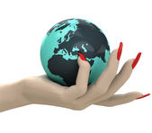 Isolated globe with Europe in women hand render — Stock Photo