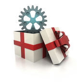 Mysterious magic gift with cogwheel spare part render — Stock Photo