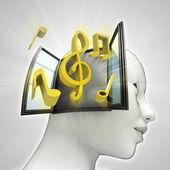 Muziek die afkomstig is uit of in menselijk hoofd via venster concept — Stockfoto