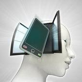Nieuwe slimme telefoon technologieën die binnenkort uit of in menselijk hoofd via venster concept — Stockfoto