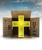 Golden religious cross product delivery with sky flare — Stok fotoğraf