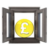 Isolated opened window to financial british business — Stock Photo