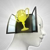 Champions cup afkomstig is uit of in menselijk hoofd via venster concept — Stockfoto