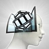 Film tape leuk afkomstig is uit of in menselijk hoofd via venster concept — Stockfoto