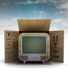 Retro television product delivery with sky flare — Stockfoto