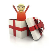 Mysterious magic gift with happy woman render — Stock Photo