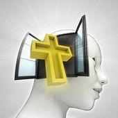 Heilige Kruis religie afkomstig is uit of in menselijk hoofd via venster concept — Stockfoto