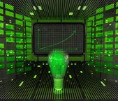 Negócios positivos gráfico previsão ou resultados em tecnologias verdes — Fotografia Stock