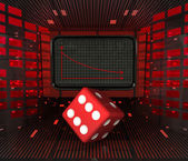 Business decrease or negative results and unlucky dice — Stock Photo