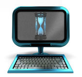 Blue metallic computer with sand glass on screen concept isolated — Stock Photo