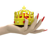 Isolated kings royal crown in women hand render — Stock Photo