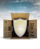 Protective shield product delivery with sky flare — Stock Photo