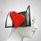 Liefde komt uit of in menselijk hoofd via venster concept — Stockfoto