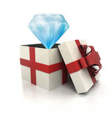Mysterious magic gift with luxurious blue diamond inside render — Stock Photo