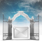 Divine message information in heavenly gate with sky flare — Stock Photo
