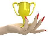 Isolated golden champion cup in women hand render — Foto de Stock