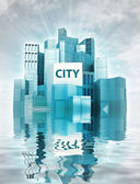 Modern city island with water reflections and sky render — ストック写真